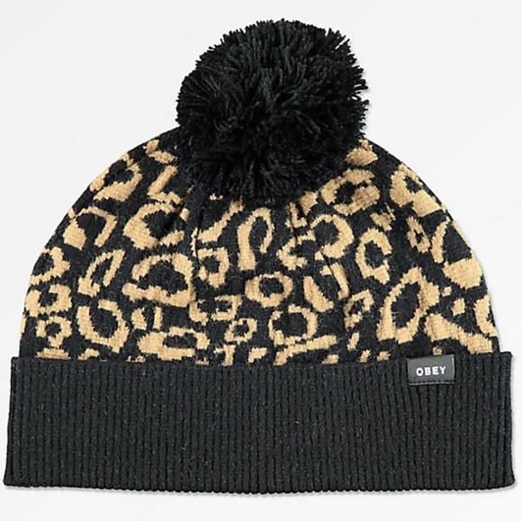 90a03d42eae New Obey cheetah leopard pom pom knit beanie hat